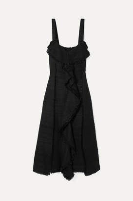 Proenza Schouler Ruffled Tweed Midi Dress - Black