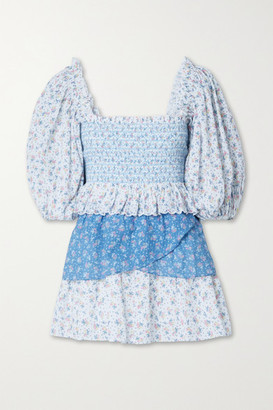 LoveShackFancy Shaw Off-the-shoulder Tiered Shirred Floral-print Cotton-voile Mini Dress - Blue