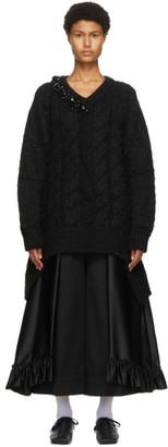 Simone Rocha Black Cable Knit V-Neck Sweater
