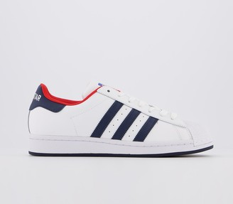 adidas Superstar Trainers White Navy Red