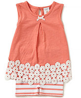 Starting Out Baby Girls Newborn-24 Months Flower-Applique Top & Striped Shorts Set