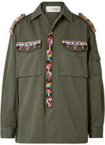 Valentino Embellished Cotton-gabardine Jacket - Army green