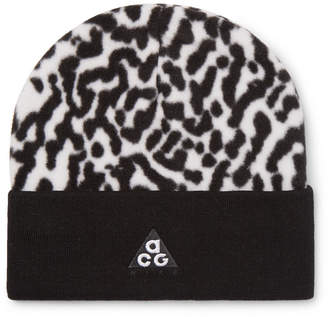Nike Acg Logo-Embroidered Leopard-Print Fleece Beanie