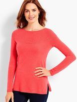 Talbots Ribbed-Yoke Cashmere Bateau Sweater
