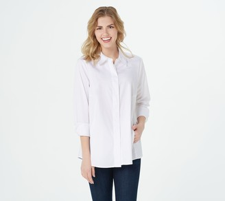 Isaac Mizrahi Live! Button Down Collared Shirt Choice of Solid or Print