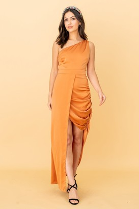 LIENA The Garner, One Shoulder Dress with Side Gather Detail in Orange