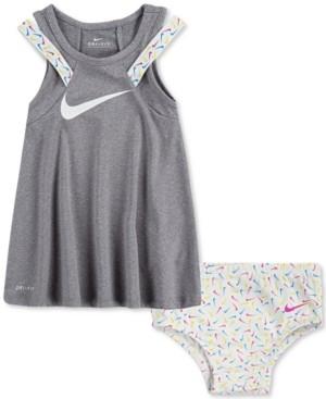 Nike Baby Girls 2-Pc. Dri-fit Logo Dress & Diaper Cover Set