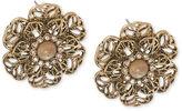 Carolee Earrings, Gold-Tone Flower Button Earrings