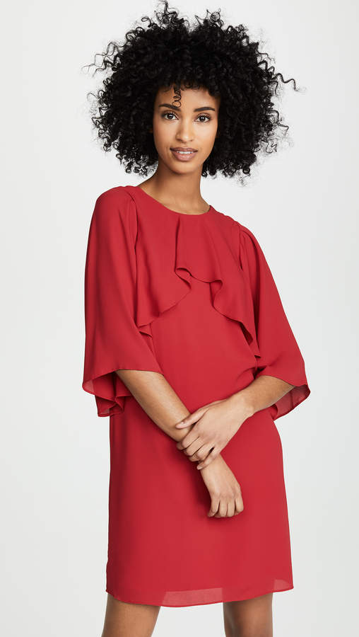 Halston Flowy Sleeve High Neck Dress