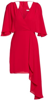 Halston Flowy Faux Wrap Mini Dress