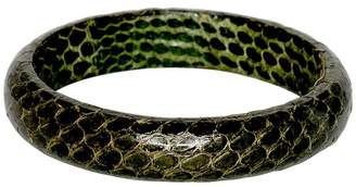 Kenneth Jay Lane Snake Leather Bangle Bracelet - Green
