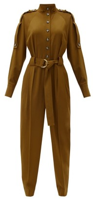 Proenza Schouler Belted Wool-blend Jumpsuit - Brown