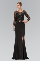 Elizabeth K - Lace Embellished Bodice with Three Quarter Sleeves Gown GL1371