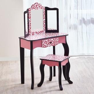 Teamson Kids Gisele Vanity Set With Mirror Finish: Hot Pink/Black