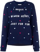 Zoe Karssen heart embroidery sweatshirt - women - Cotton/Polyester - M