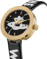 Vivienne Westwood Southbank Black and Gold Bezel Graffiti Logo Dial Black and White Printed Leather Strap Watch