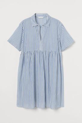 H&M MAMA Cotton Shirt Dress - Blue