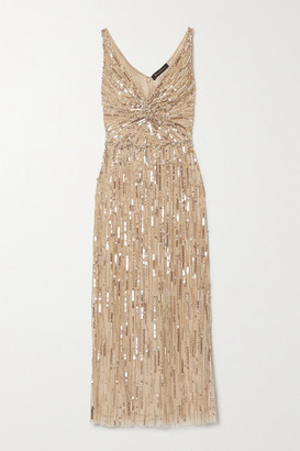 Jenny Packham Meredith Embellished Tulle Midi Dress - Gold