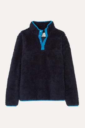 Tory Sport Sherpa Shell-trimmed Cotton-blend Fleece Jacket - Navy