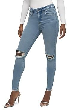 Good American Good Legs Distressed Skinny Ankle Jeans in Blue523