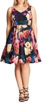 City Chic Plus Size Women's Secret Garden Print Fit & Flare Dress