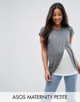 Asos Maternity - Nursing Asos Maternity Petite Nursing T-Shirt With Wrap Overlay