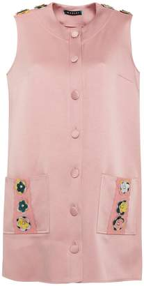 Tabby Leather Embellished Silk Coat Dress Pink