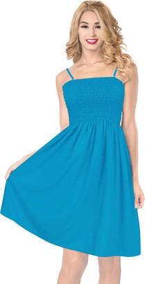 LA LEELA 3 in 1 Soft Rayon Plain Women Plus Size Swimsuit Strap Dress Evening Prom Dress Skirt Short Bandeau Maxi Skirt Fit Flare Beachwear Bikini Cover up Short Loungewear Dress Blue Ladies