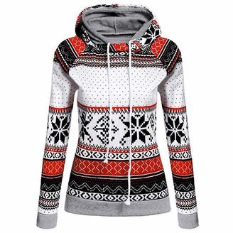 JURTEE Women's Coats Ladies Autumn Winter Warm Christmas Printed Hoodies Sweatshirt Tops Jumper Pullover Red