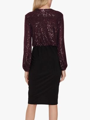 Gina Bacconi Anara Jersey Embellished Midi Dress, Wine