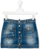 DSQUARED2 stonewash denim skirt - kids - Cotton/Spandex/Elastane - 14 yrs