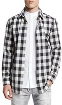 Pierre Balmain Double-Layer Check Long-Sleeve Shirt, Black/White