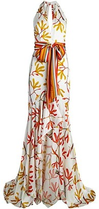 Silvia Tcherassi Pescia Halter Silk High-Low Gown