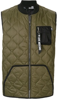 Love Moschino quilted bi-material gilet