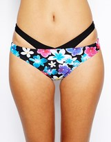 By Caprice Selene Floral Bikini Bottom With Cut Out