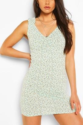 boohoo Floral Print Ruched Strap Mini Dress