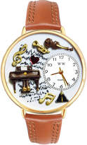 Whimsical Watches Personalized Piano Music Womens Gold-Tone Bezel Tan Leather Strap Watch