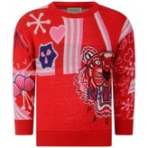 Kenzo KidsGirls Red Knitted Tiger Sweater