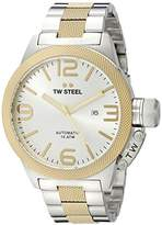 TW Steel Canteen Unisex Automatic Watch with Silver Dial Analogue Display and Silver Stainless Steel Bracelet CB36