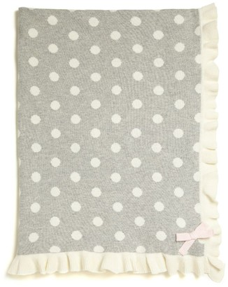 Elegant Baby Ruffle-Trim Dot-Print Blanket