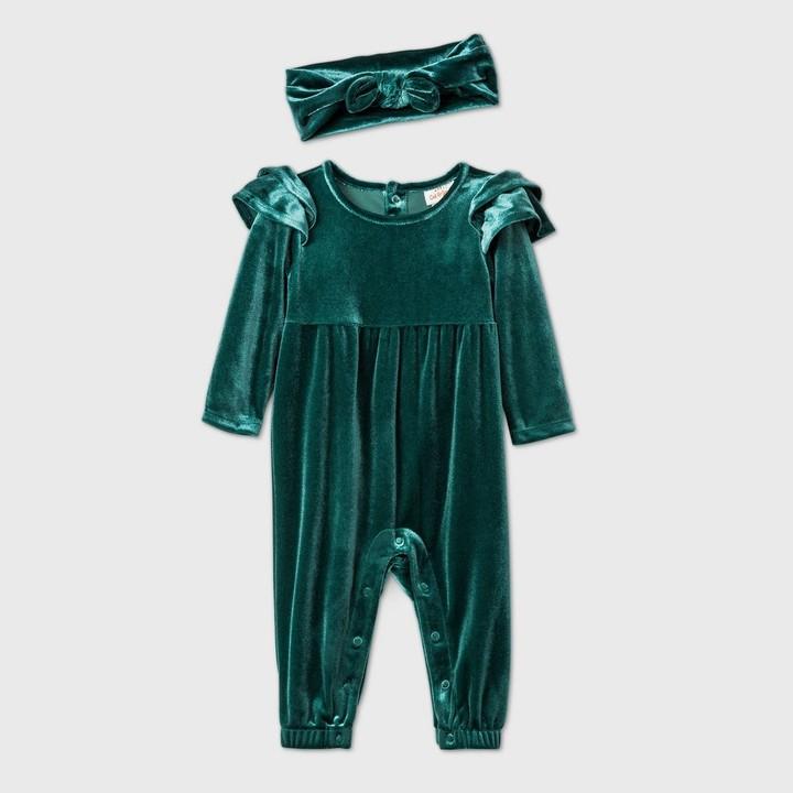 Cat & Jack Baby Girls' Velour Ruffle Long Sleeve Romper - Cat & JackTM
