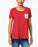 Style&Co. Style & Co Striped Crochet-Pocket Top, Only at Macy's