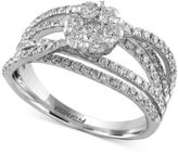 Effy Diamond Floral Crisscross Ring (1-1/3 ct. t.w.) in 14k White Gold
