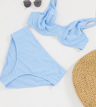 Peek & Beau Curve Exclusive frill high waist bikini bottom in blue