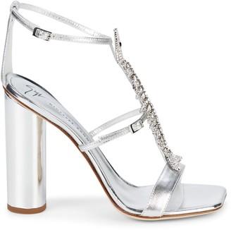 Giuseppe Zanotti Column Fish Crystal-Embellished Leather Heeled Sandals