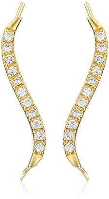 The Ear Pin 18k Gold Sterling Silver Classic S-Shape Cubic Zirconia Earrings
