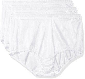 Shadowline Women's Plus-Size Panties-Low Rise Nylon Brief (3 Pack)