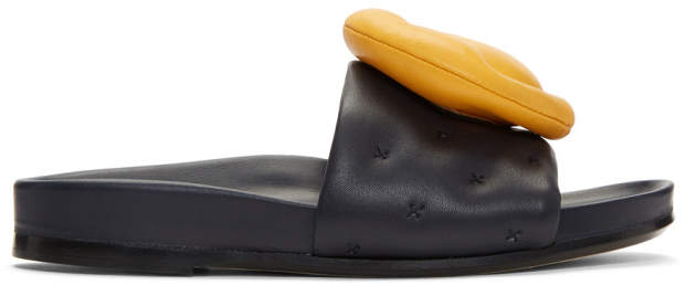 Anya Hindmarch Navy Chubby Wink Slides