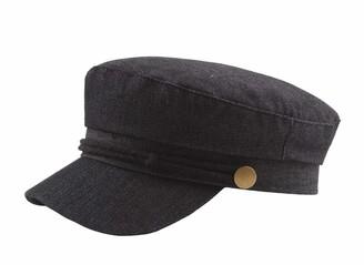 CHENNUO Classic Military Flat Cap Mariner Cap Fiddler Cap Barge Cap Cotton Hat Women (Black)