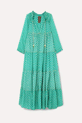 Yvonne S Hippy Tiered Printed Cotton-voile Maxi Dress - Green